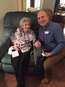 Ms. Ruby Comoletti, Navy WAVE servicewoman, pictured with Geary Williams, Clarity Hospice Chaplain and Veteran